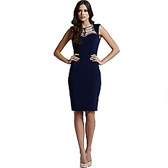 Little Mistress - Navy embellished neck stretch midi dress