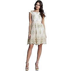 Little Mistress - Cream floral lace off the shoulder dress