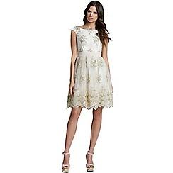 Little Mistress - Cream floral lace off the shoulder dress