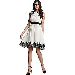 Little Mistress - Cream floral applique chiffon prom dress