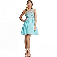 Laced In Love - Turquoise embellished front prom dress