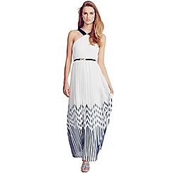 Little Mistress - Black and white pleated chevron maxi dress