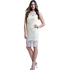Paper Dolls - Racer front lemon bodycon dress with lace overlay