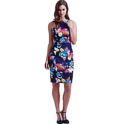 Paper Dolls - Navy tropical floral v back dress
