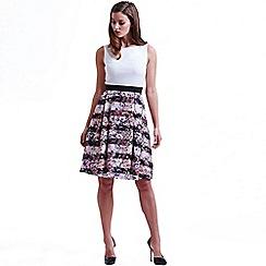 Paper Dolls - White and floral stripe jacquard dress