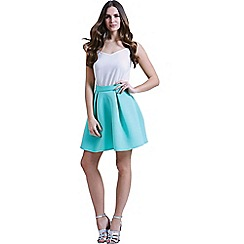 Paper Dolls - Mint full mini skirt in textured scuba