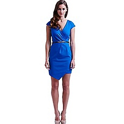 Paper Dolls - Blue cross over asymmetrical dress