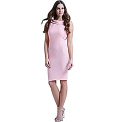 Paper Dolls - Pink polka dot v-back bodycon dress