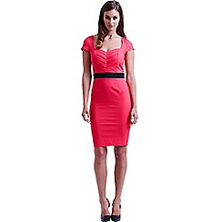 Paper Dolls - Coral pleated sweetheart dress