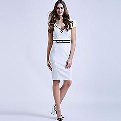 Paper Dolls - White applique cap sleeve dress