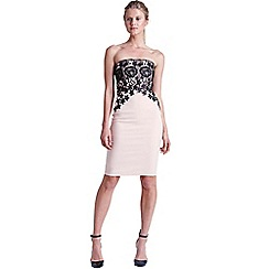 Paper Dolls - Blush and black lace bandeau dress