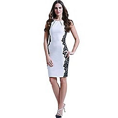 Paper Dolls - White and black sleeveless lace dress