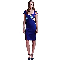 Paper Dolls - Navy tropical floral sweetheart dress