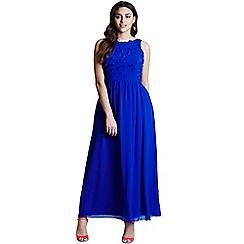 Little Mistress - Curvy blue applique maxi dress