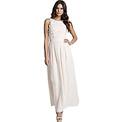 Little Mistress - Nude applique maxi dress