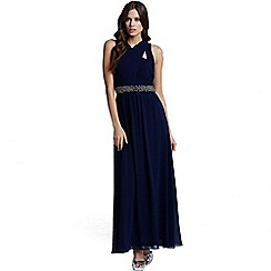 Little Mistress - Navy cross over embellished maxi dress