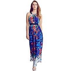 Little Mistress - Multi print belted chiffon maxi dress