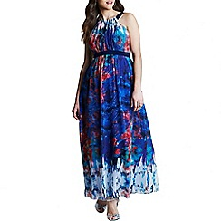 Little Mistress - Curvy multi print belted chiffon maxi dress