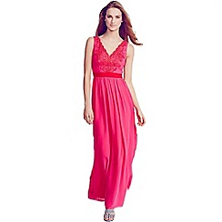 Little Mistress - Pink and red v neck maxi dress