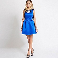 Laced In Love - Blue embellished cut out dress