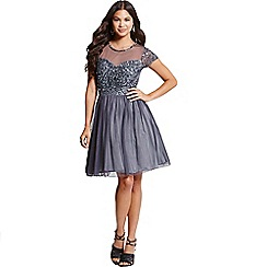 Little Mistress - Grey fit and flare embellished dress