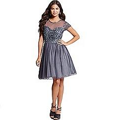 Little Mistress - Grey fit and flare embellished dress