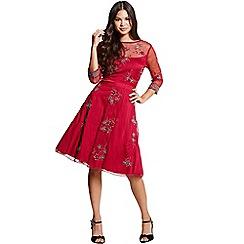 Little Mistress - Red embroidered skater dress