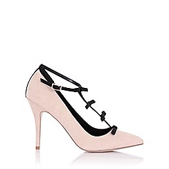 Paper Dolls - Marigold nude satin court heels with mini bows