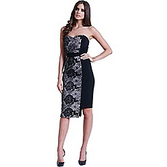 Little Mistress - Black and white floral overlay bandeau dress