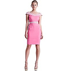 Paper Dolls - Pink and white lace bardot dress