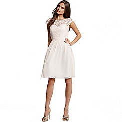 Laced In Love - Nude lace fit and flare dress