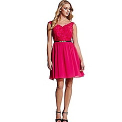 Laced In Love - Pink lace fit and flare dresss