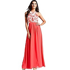Little Mistress - Coral and cream floral top maxi dress