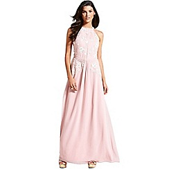 Little Mistress - Rose pink floral embroidered maxi dress