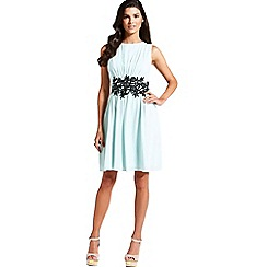Little Mistress - Mint embroidered waist fit and flare dress