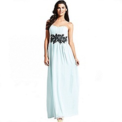 Little Mistress - Mint embroidered waist maxi dress