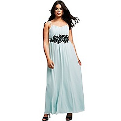 Little Mistress - Curvy mint embroidered waist maxi dress