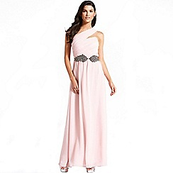 Little Mistress - Nude one shoulder maxi dress