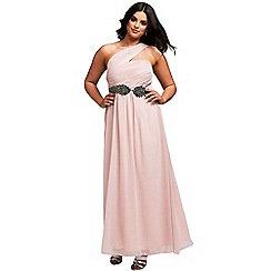 Little Mistress - Curvy nude one shoulder maxi dress