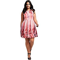 Little Mistress - Curvy pink floral fit and flare dress