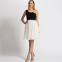 Laced In Love - Black and cream one shoulder dress