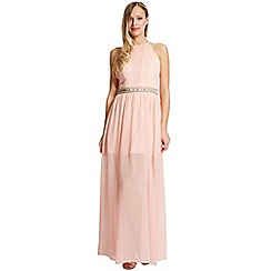 Laced In Love - Peach slit skirt maxi dress