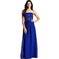 Little Mistress - Cobalt blue embroidered maxi dress