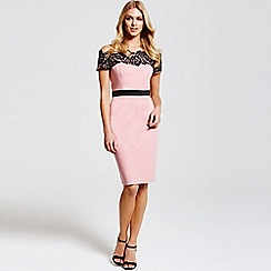 Paper Dolls - Blush and black lace trim dress