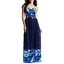 Little Mistress - Blue floral maxi dress