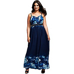 Little Mistress - Curvy blue floral maxi dress