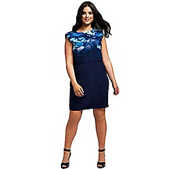 Little Mistress - Curvy blue floral 2 in 1 bodycon dress