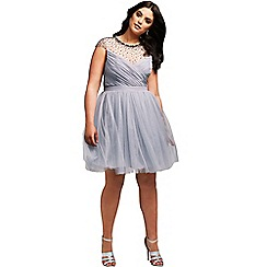 Little Mistress - Curvy grey beaded prom dress