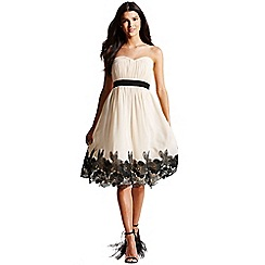 Little Mistress - Cream floral applique bandeau dress