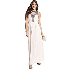 Little Mistress - Cream chiffon mesh insert maxi dress